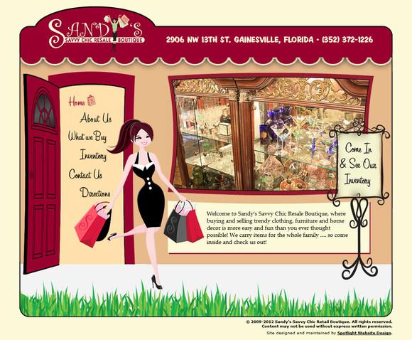 Spotlight Website Design Sandy S Savvy Chic Retail Boutique Web